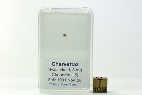 Chervettaz - Chondrite L5 - fell 1901 in Switzerland - RARE micro fragment 3 mg