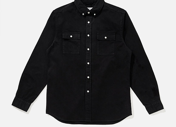 Saturdays NYC ANGUS Button Down Broken Twill Shirt | black