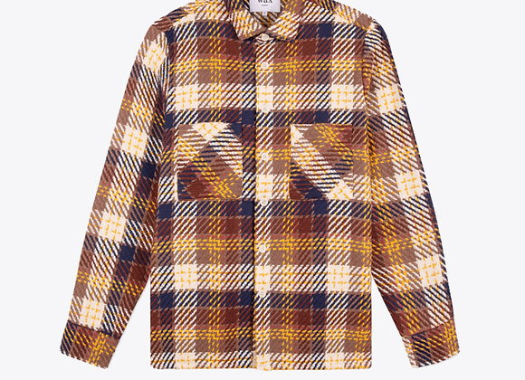 Wax London WHITING Woven Overshirt | madras brown