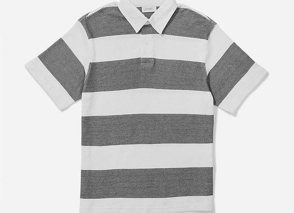 Saturdays NYC JAKE Waffle Stripe Knit S/S Polo | black/white