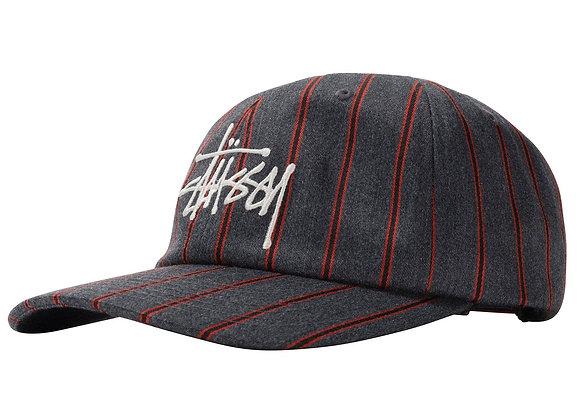 Stussy BIG LOGO STRIPED Cap | charcoal