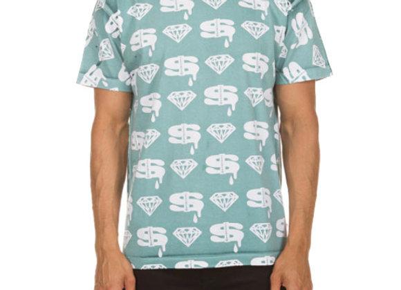 Ice Cream DIAMONDS and DOLLARS T-Shirt | green blue slate