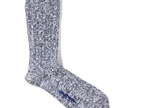 Druthers NYC Organic Cotton Ribbed Slub Crew Socks   navy