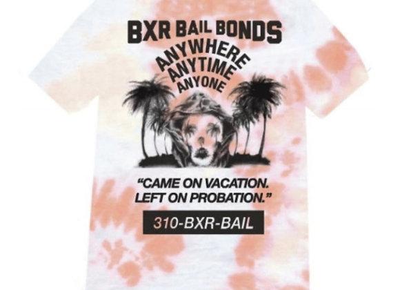 Born X Raised BAIL BONDS T-Shirt | tie dye dusty rose