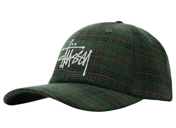 Stussy BIG LOGO Plaid Low Pro Cap | green