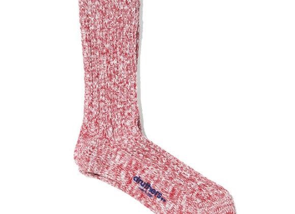 Druthers NYC Organic Cotton Rib Slub Crew Socks | red