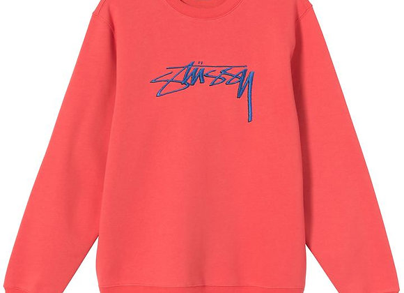 Stussy SMOOTH STOCK Embroidered Crew | pale red