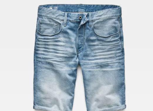 G-Star 3301 SATO Denim Shorts | light aged