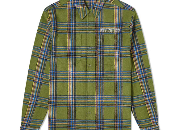 Pleasures WIDOW Heavyweight Flannel Shirt | green