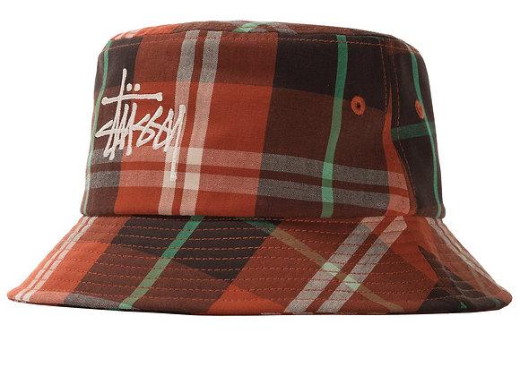 Stussy BIG LOGO MADRAS Bucket Hat | orange