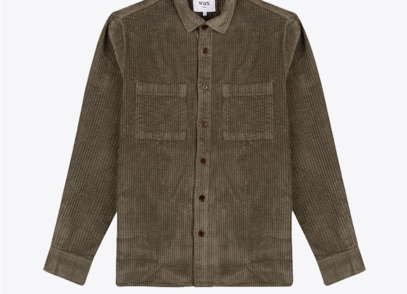 Wax London WHITING Woven Overshirt | dark olive cord