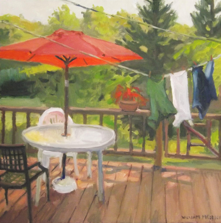 Red Umbrella, oil,linen, 16 x 16
