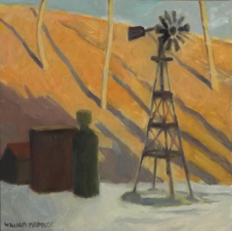 Windmill, oil/linen,16 x 16