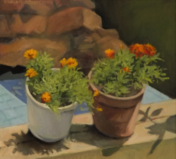 Marigolds, oil, 18 x 20