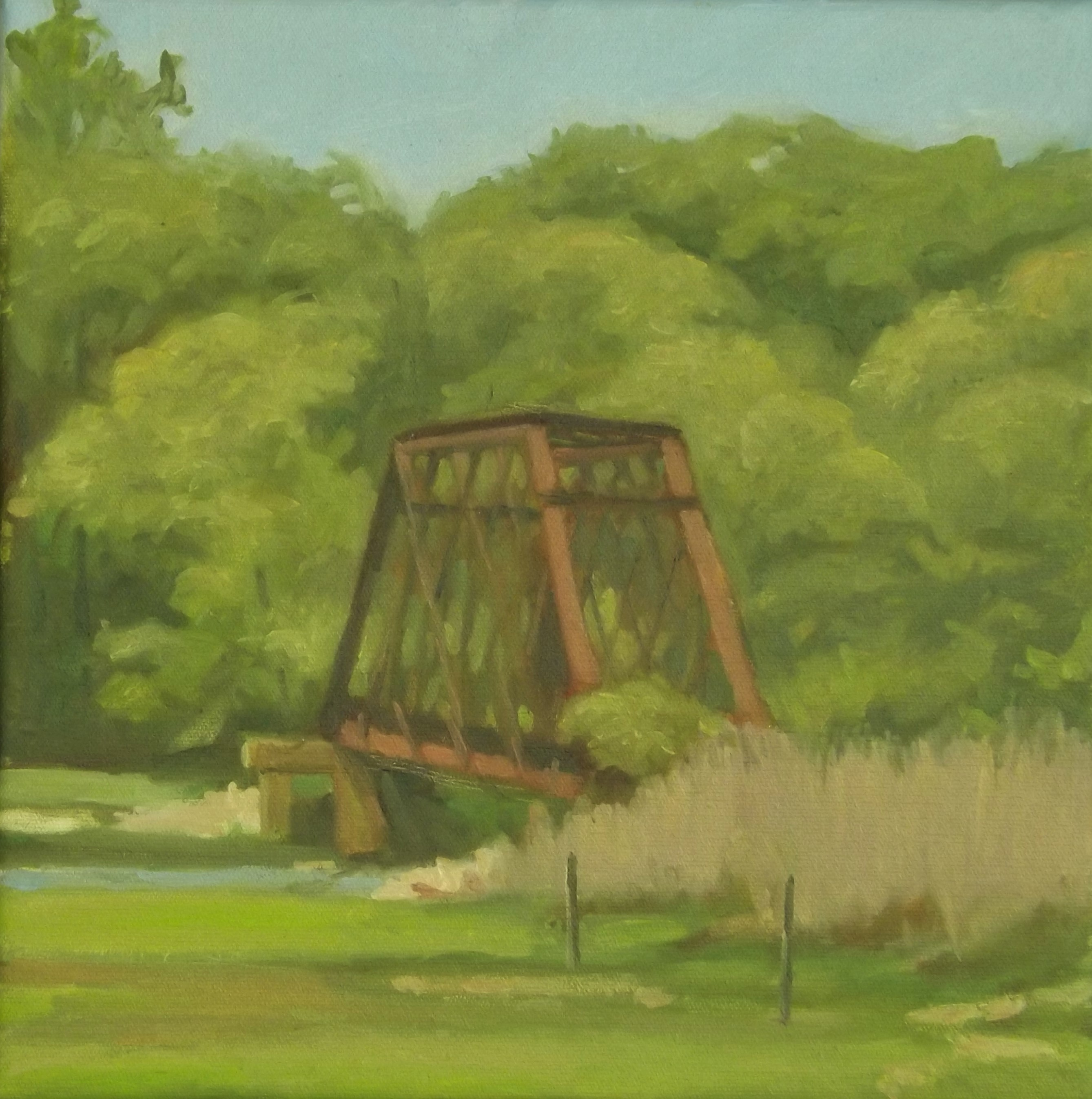 Trolley Bridge, oil, 14 x 14
