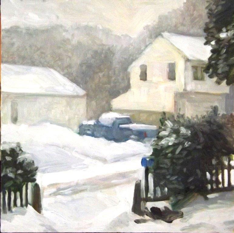 Blue Truck. Snow, oil/panel, 12x12