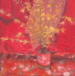 Red Spring, oil,18 x18