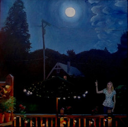 The Buck Moon, oil, 36 x 36