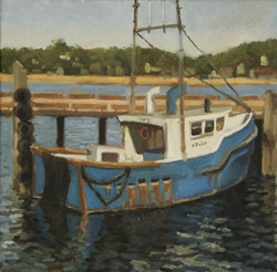 Blue Boat, oil/linen, 14 x 14