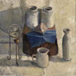 White Still Life, oil/linen, 20 x 20