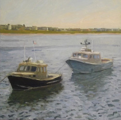 Two Boats, oil/linen, 16 x 16