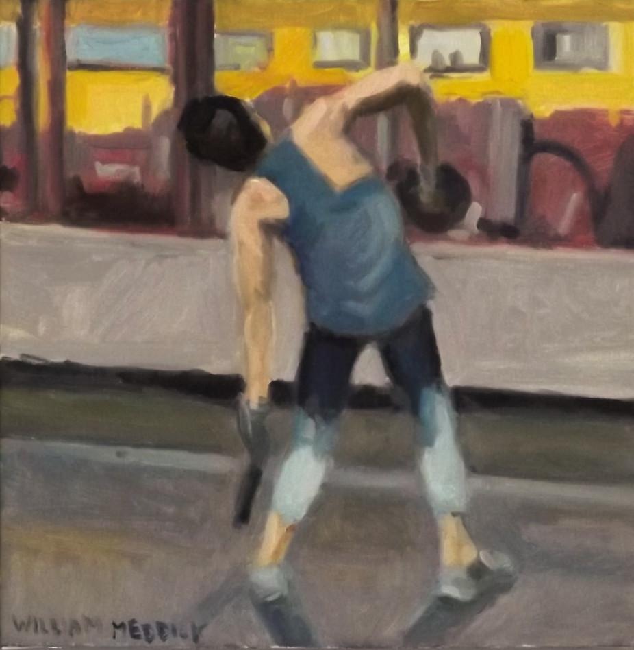 Exercise, oil/linen, 14 x14