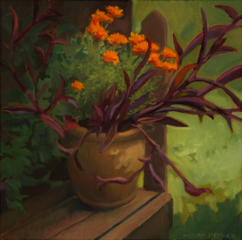 Purple Plant, oil/linen, 16 x 16