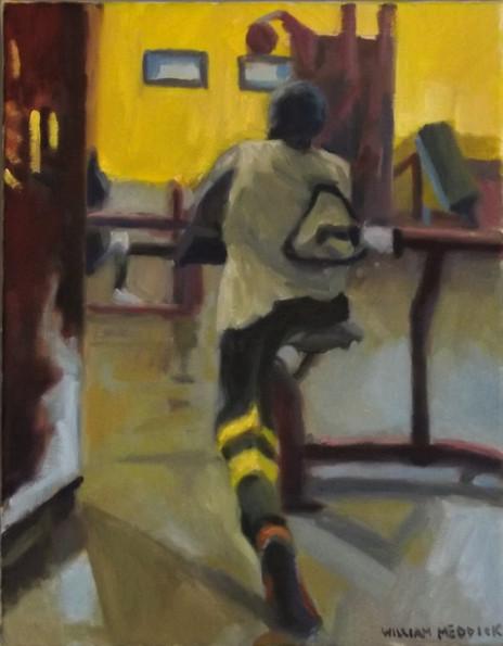 Yellow Wall, oil, 18 x 14