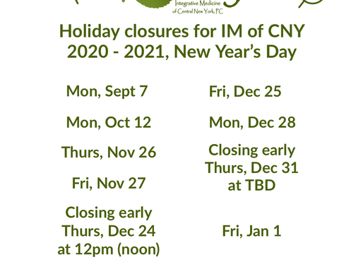 Holiday Closures for IM of CNY, 2020 - 2021, New Year's Day