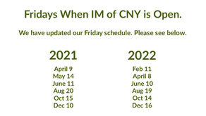 Updated Friday Schedule at IM of CNY