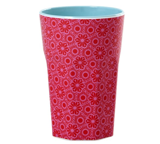 Rice Tall Cup Red and Pink