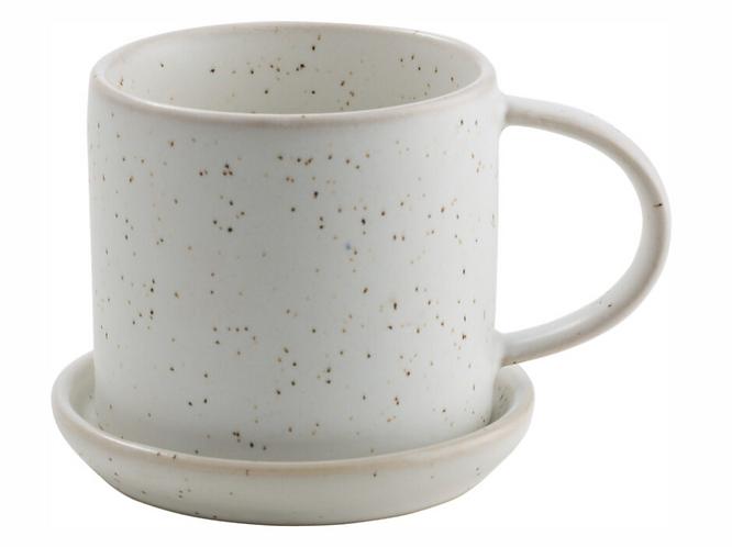 ERNST Tasse mit Unterteller  weiss mit Punkten ø 7,5 cm