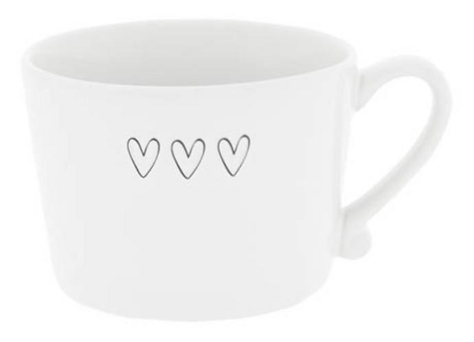 BC Tasse mit drei Herzen schwarz
