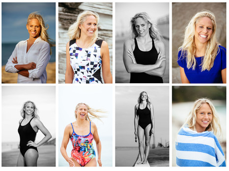 Creative portrait photography of a champion swimmer in various poses on location.