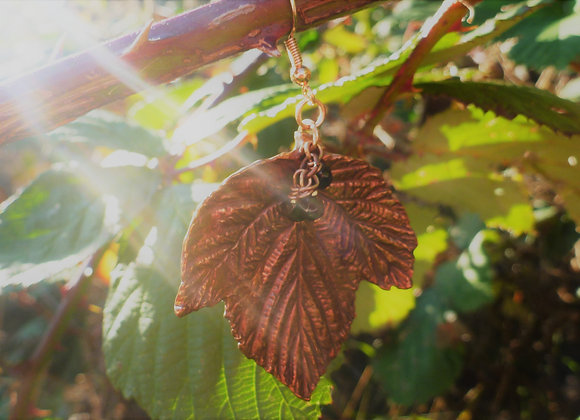 Blackberry Leaf Copper Earrings
