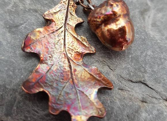 Copper Oak Leaf & Acorn Pendants