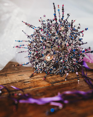 CRZyBest Galaxy Inspired, Alternative Bouquet with tiny copper and bronze planet sculptures, photo by Indigo and Violet
