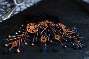 Steampunk haircomb with mixed Capri Blue