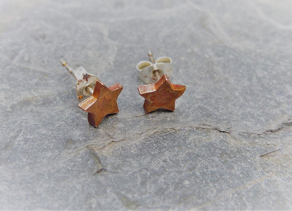 Copper Star Stud Earrings