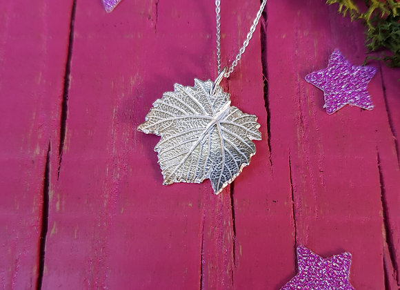 Small Vine Leaf Necklace in Sterling Silver