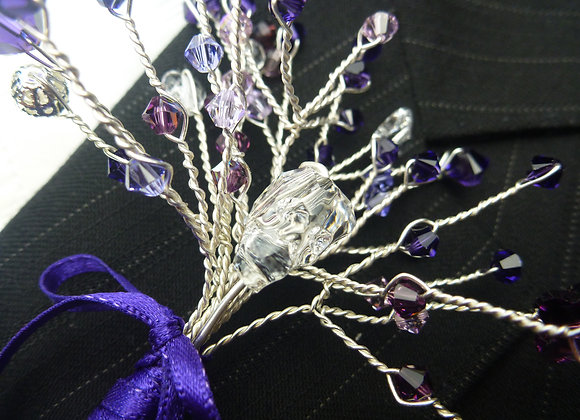 Purple & Crystal Skull Buttonhole
