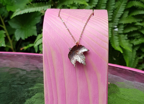 Small Copper Hop Leaf Necklace