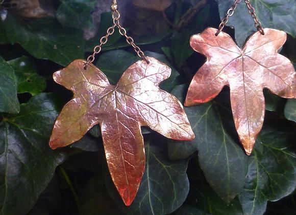 Large Copper Ivy Leaf Earrings