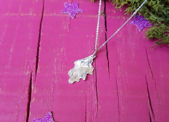 Tiny Silver Oak Leaf Necklace