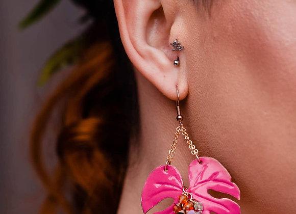Pink Monstera Leaf Earrings