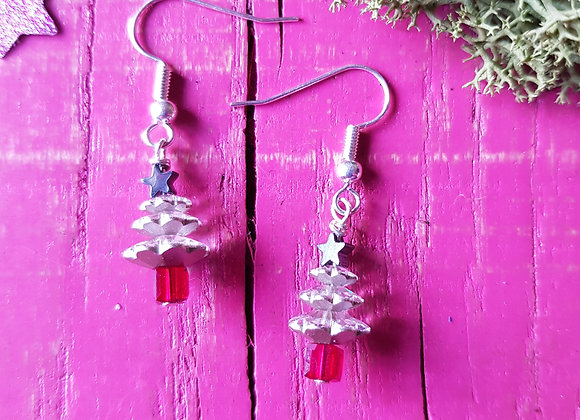 Festive Foiled Christmas Tree Earrings