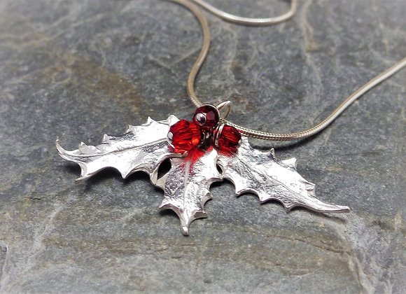 Sterling Silver Holly Leaf Pendant