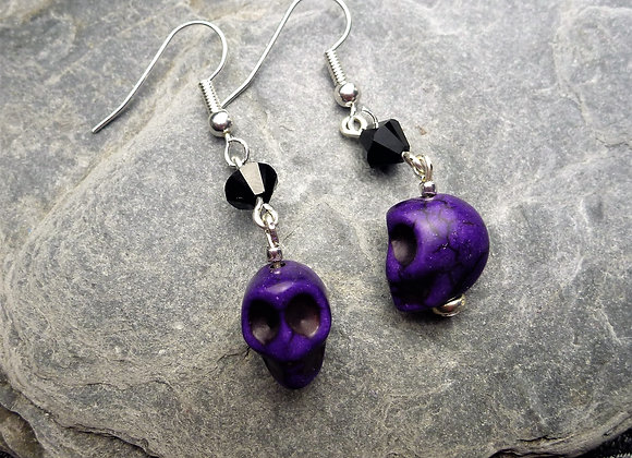 Howlite Skull Earrings