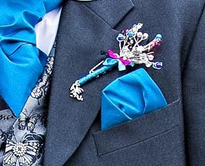 Blue button hole close up