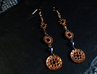 Steampunk Earrings with mixed Swarovski